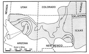 Isopach map of the Coconino Sandstone and its equivalents
